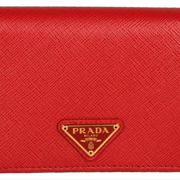 Prada Other - New Prada Red Saffiano Leather Small Bifold Wallet
